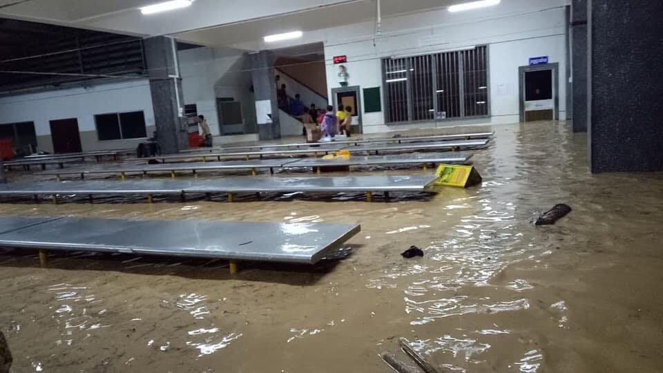 Students' dining hall during the flood.